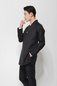 [스테디셀러] 블랙 여밈깃 롱 한복정장 자켓