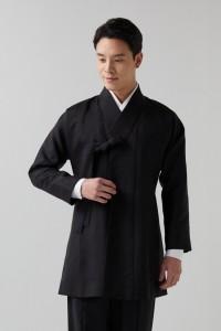 블랙 실크 명주 고름형 자켓